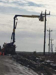 Power line work continues for the St. Lawrence Fluorspar Project site.