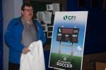 Hubert Beck, President of the St. Lawrence Senior Men's Soccer Association, speaks on behalf of the St Lawrence Soccer Association and gives thanks for the donation from CFI
