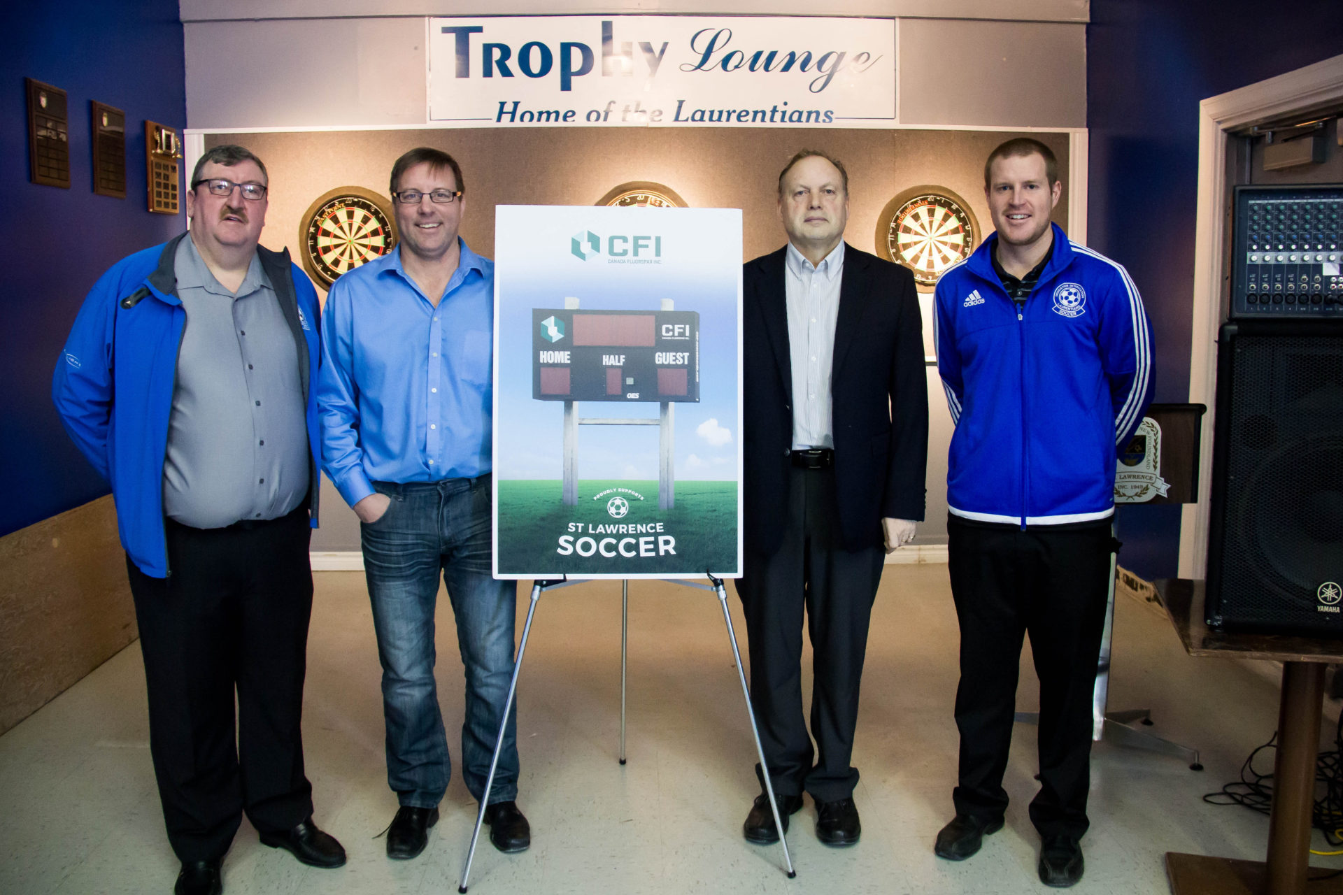 (l-r) Hubert Beck, President of the St. Lawrence Senior Men's Soccer Association, Lindsay Gorrill, CEO of CFI, Paul Pike, Mayor of St. Lawrence, and Marc Pitman, President of St. Lawrence Junior SoccerAssociation