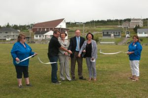 CFI CEO Lindsay Gorrill joins Minister Judy Foote, Mayor Paul Pike and MHA Carol Anne Haley in cutting the ribbon to open St. Lawrence Day activities.